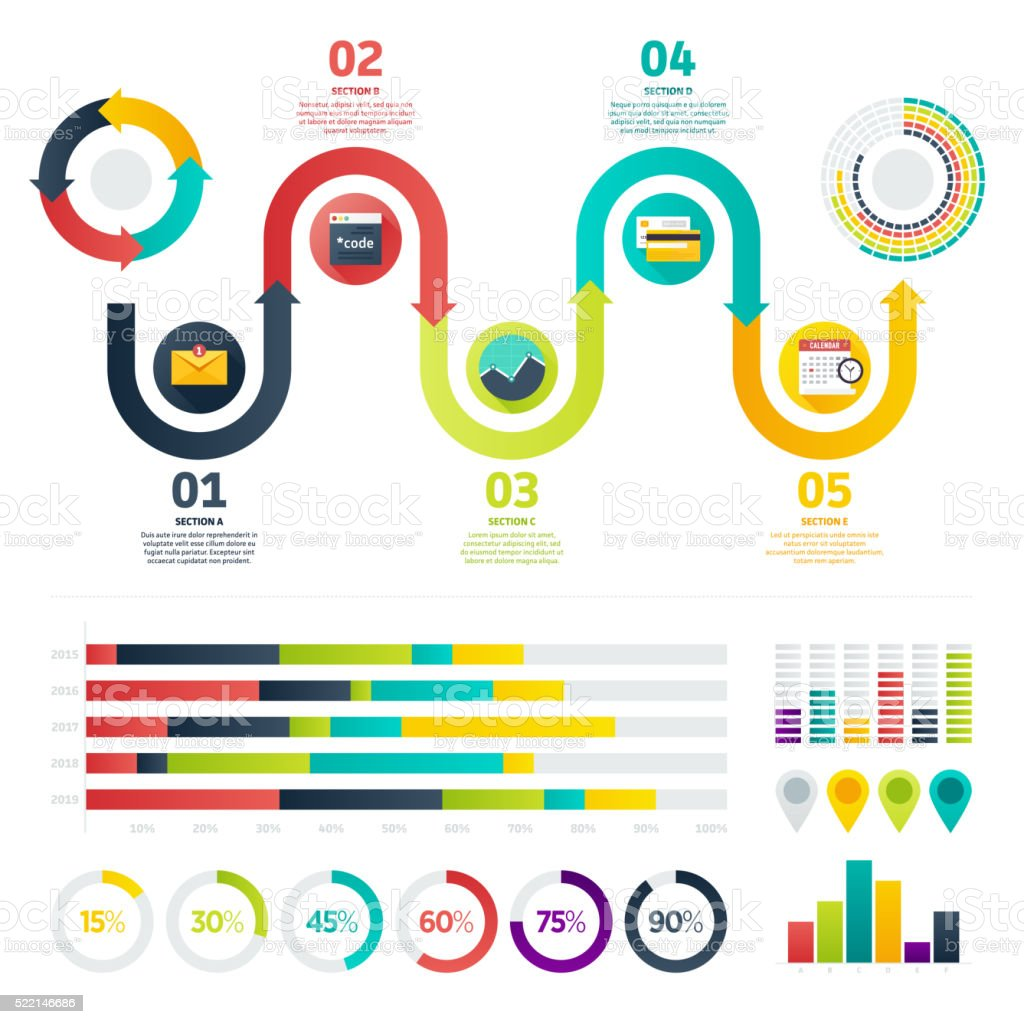 Flache Infografiken anzeigen – Vektorgrafik