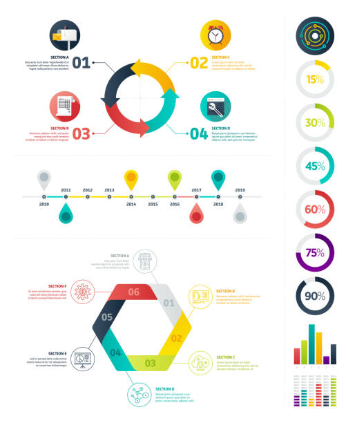 Flat Infographic Elements Set of Infographic elements. Business illustrations in flat design style for presentation, booklet, website etc.   budget patterns stock illustrations
