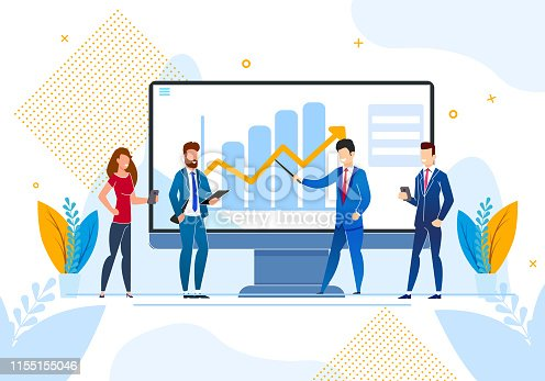 Flat Inscription Social Media Vector Illustration. Study Impact Social Networks on Growth Business Processes Enterprise. Group Men and Women Discuss Growth Rates on Chart, Cartoon.