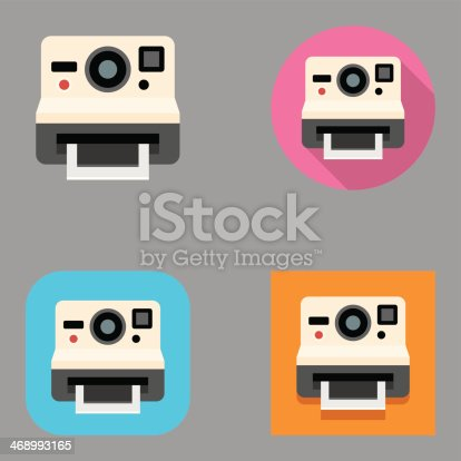 Flat instant camera icon set over different background shapes and colors.