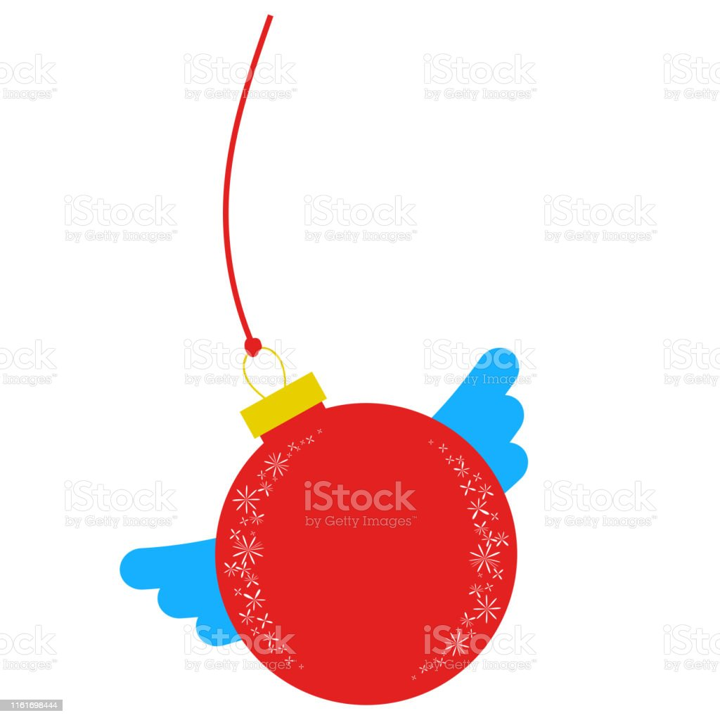 Flat Insulated Red Ball With Wings Simple Drawing Christmas Decorations On White Background Stock Illustration Download Image Now
