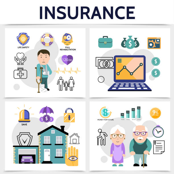 flat insurance square colorful concept - old man computer silhouette stock illustrations, clip art, cartoons, & icons