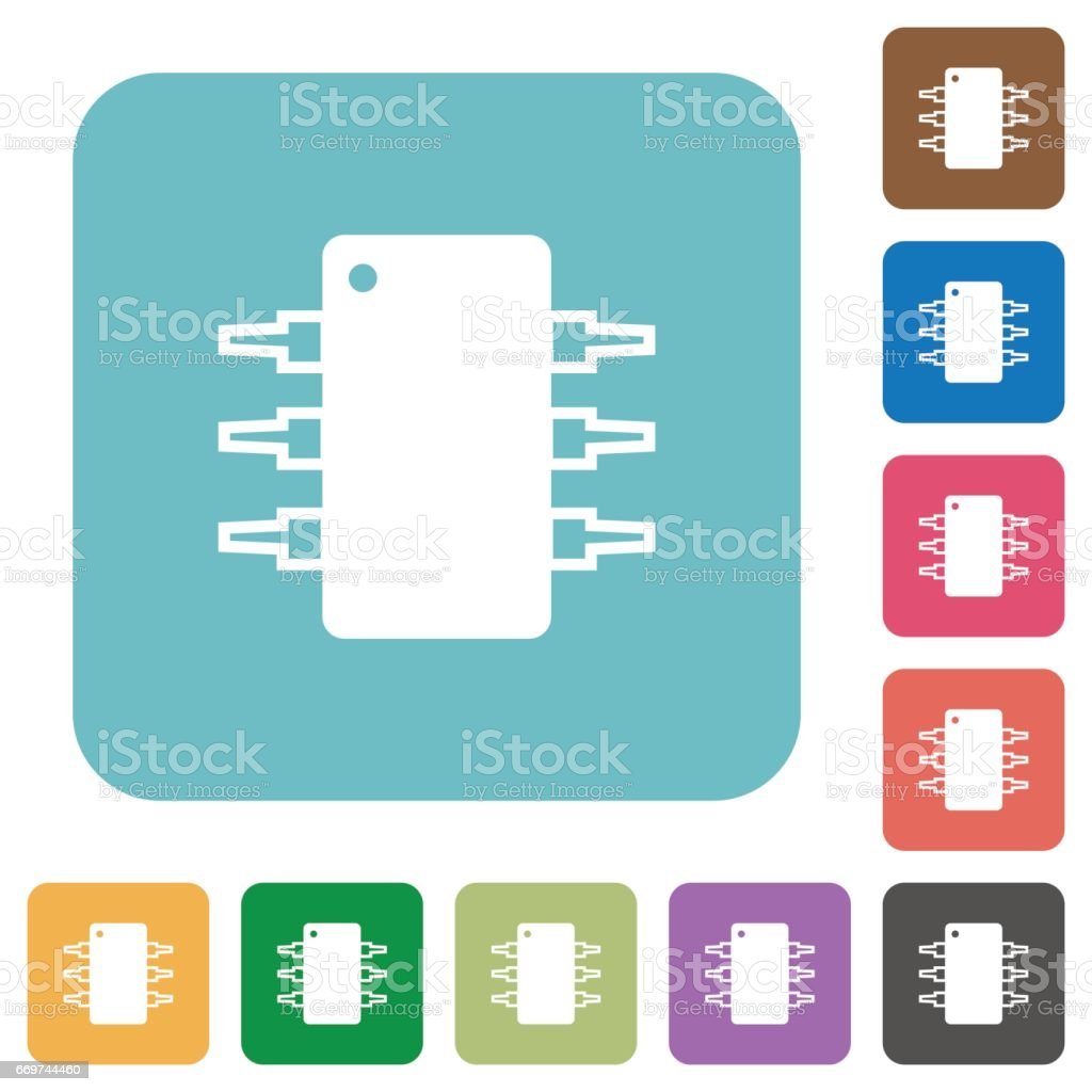 Flat Integrated Circuit Icons Stock Vector Art & More Images of ...