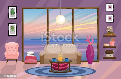 Flat interior design, landscape with beautiful sunset outside the window. Living room design. Vector illustration