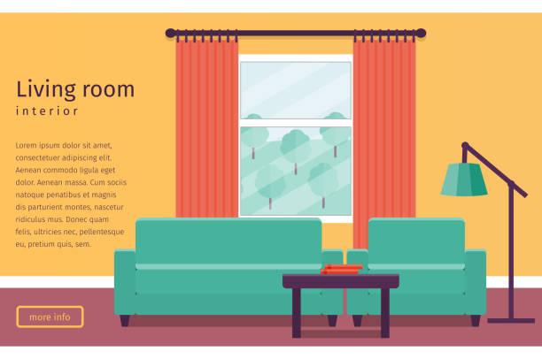 ilustrações de stock, clip art, desenhos animados e ícones de flat interior living room. vector background. - coffee table
