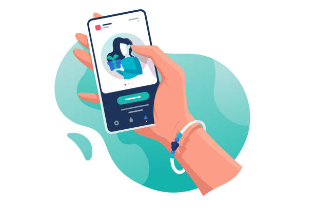 Flat isolated hand with phone with contacts woman with gift. Flat isolated hand with phone with contacts woman with gift. Concept electronic mobile device, communication. Vector illustration. phone stock illustrations