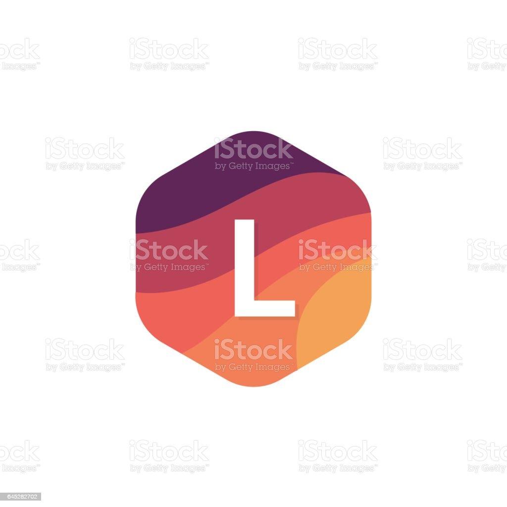 Flache isoliert L Brief Logo Sechseck Form Zeichen Symbol Vektor Firmendesign – Vektorgrafik