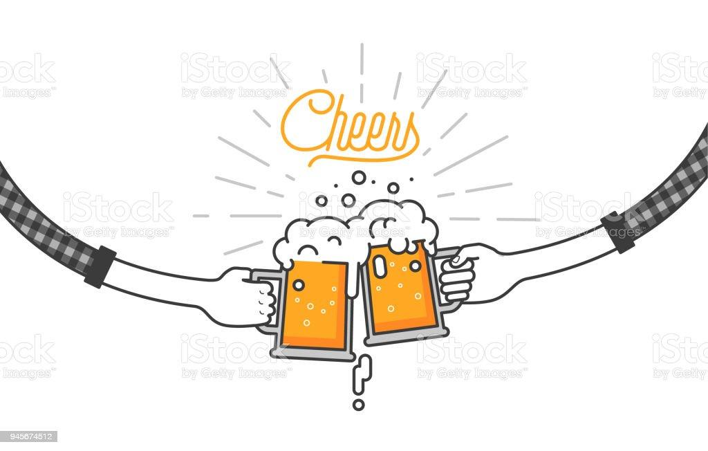 フラット分離飲むビールのベクトル イラスト乾杯グラスパーティーに