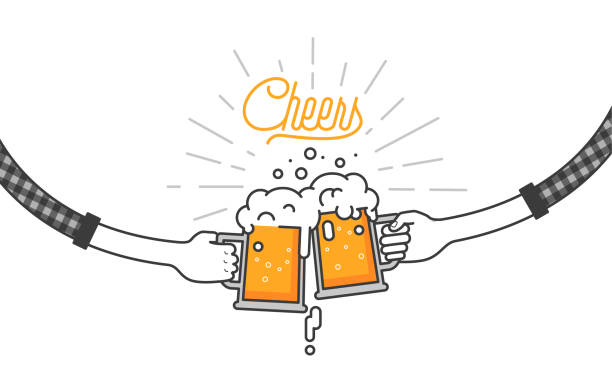 flat isolated vector illustration of drinking beers, cheers, clinking glasses, party. two friend are drinking beers in plaid shirts. party celebration in a pub on white background. cheers mate - plaid shirt stock illustrations