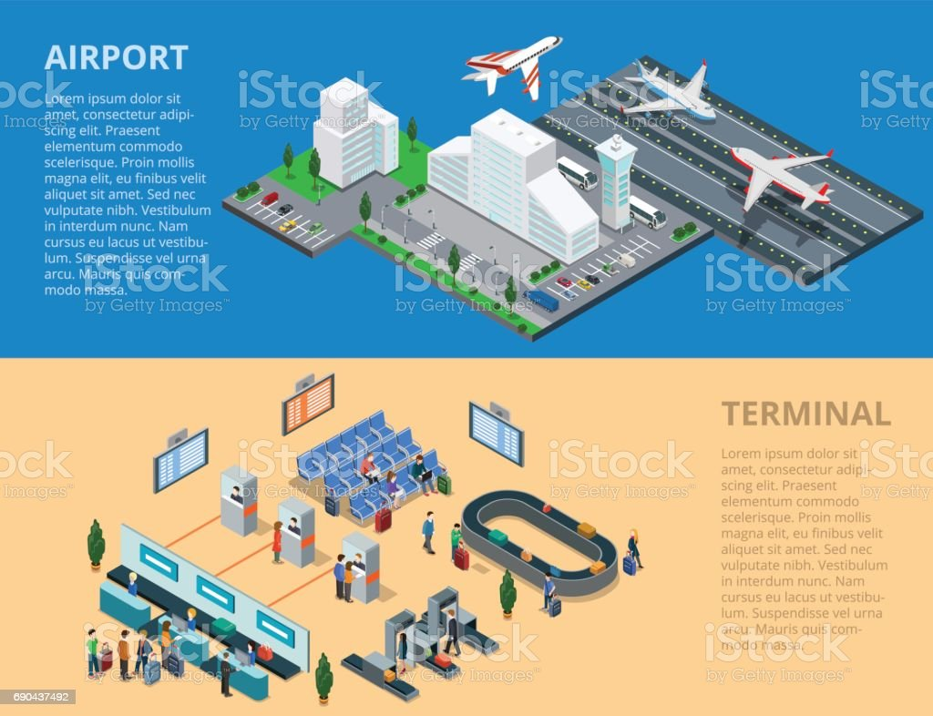 Flat isometric airport, flying and landing planes; terminal waiting hall, passport control, baggage line conveyor infographics template vector illustration. 3d isometry Public transportation concept. vector art illustration