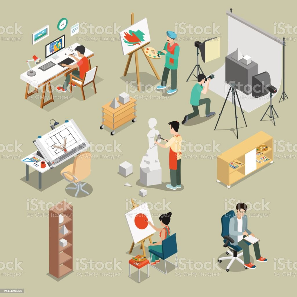 Flat isometric Art studio or workshop with furniture, equipment and Graphic designer Sculptor photograph characters at working place vector illustration set. 3d isometry creative person concept. vector art illustration