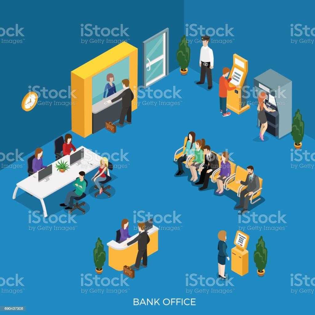 Resepsiyon, cashdesk vektör çizim ile düz izometrik banka ofisi. ATM, kayıt ve ödeme terminal, çalışanları, müşterileri ve güvenlik karakter. 3D isometry yaratıcı bankacılık kavramı. vektör sanat illüstrasyonu