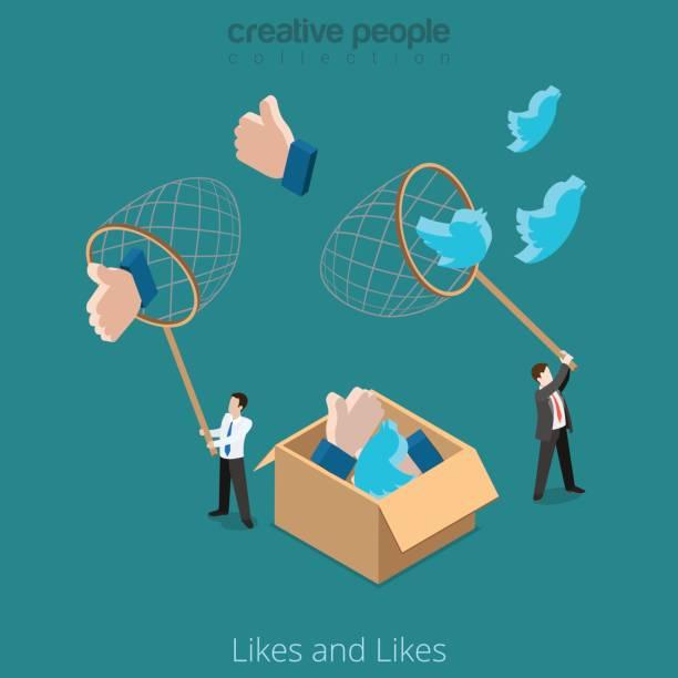 平等距商人抓住巨大的 twitter 等標誌與淨向量圖。在社會網路 3d 等距同構概念的業務推廣。 - twitter 幅插畫檔、美工圖案、卡通及圖標