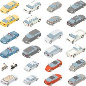A variety of private passenger vehicles are illustrated in isometric view. Vector SUV, minivan, midsize sedan, sports car, large sedan, taxi, police car and pickup truck are shown from the front and from the back. A convertible, moped, and motorcycle are also included in the set of vector illustrations. Vehicles do not represent specific makes or models.