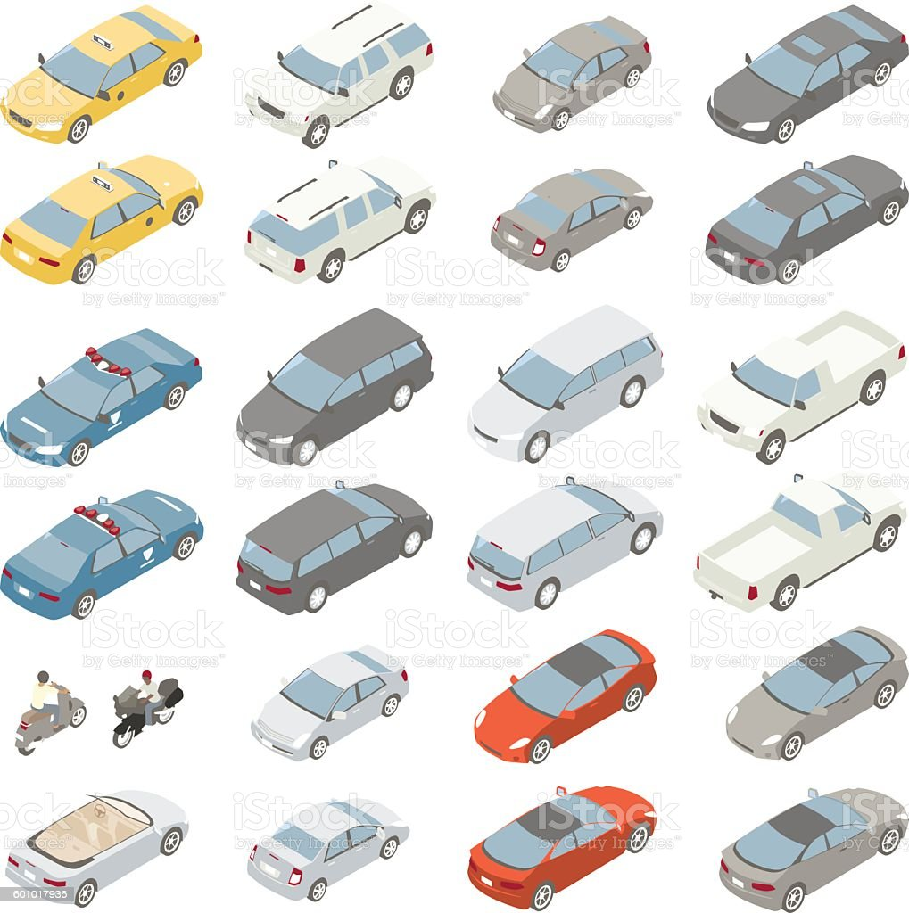 Flat isometric cars vector art illustration