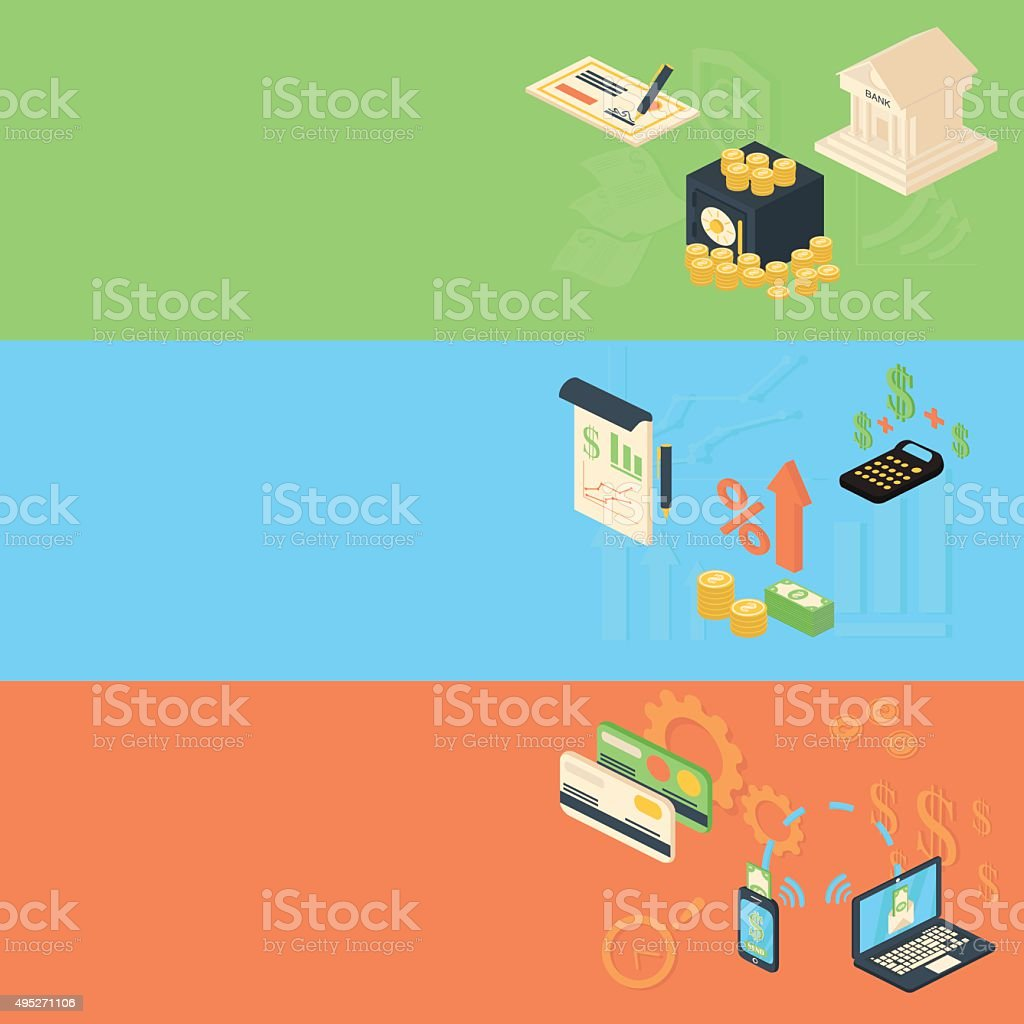 Flat isometric design banners concepts for business vector art illustration