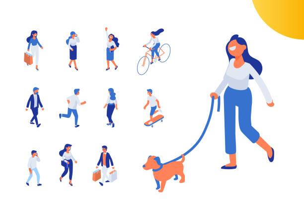 flache isometrische mädchen wandern mit hund. - arbeitshunde stock-grafiken, -clipart, -cartoons und -symbole