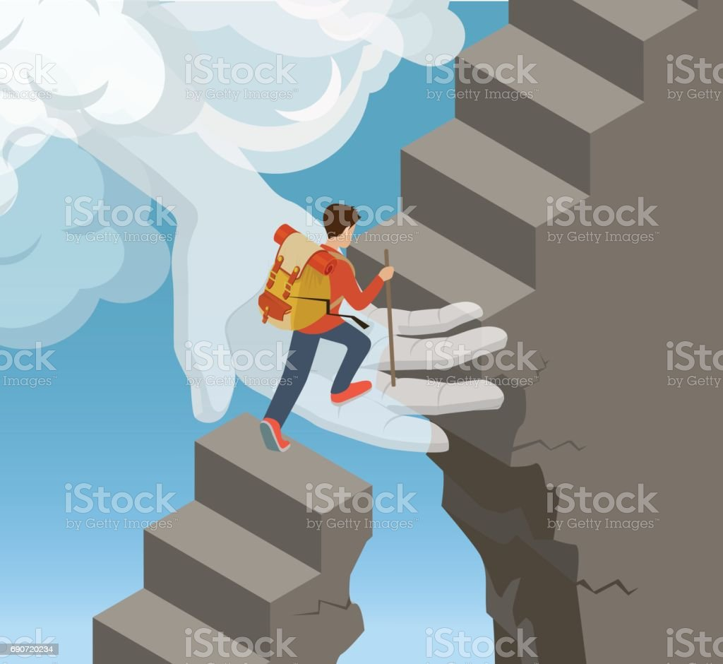 Flat isometric Hand from cloud supporting rock climber on stone ladder vector illustration. 3d isometry God help and support concept. vector art illustration