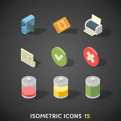 Flat Isometric Icons Set 15