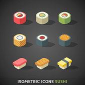 Flat Isometric Icons Sushi