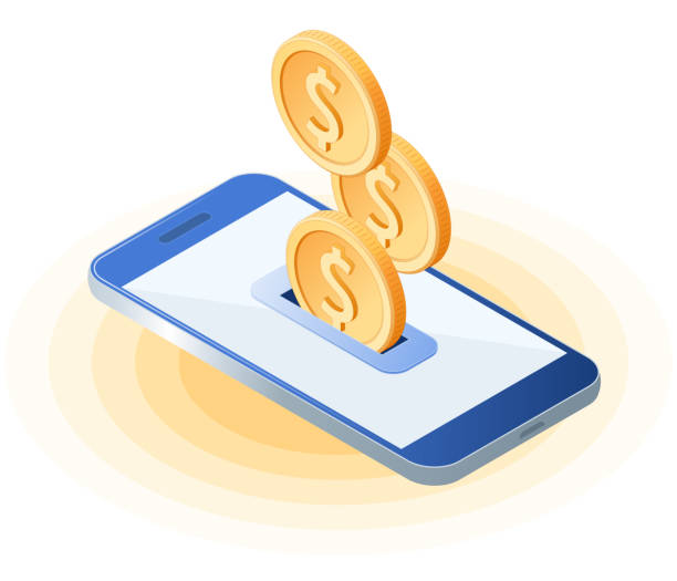 Flat isometric illustration of coins droping into smart phone screen. vector art illustration