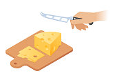 Flat isometric illustration of cutting board, peice of cheese, knife.
