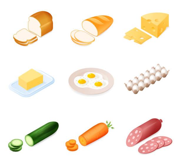 stockillustraties, clipart, cartoons en iconen met plat isometrische illustratie van verschillende voedselingrediënt instellen. - chicken bird in box