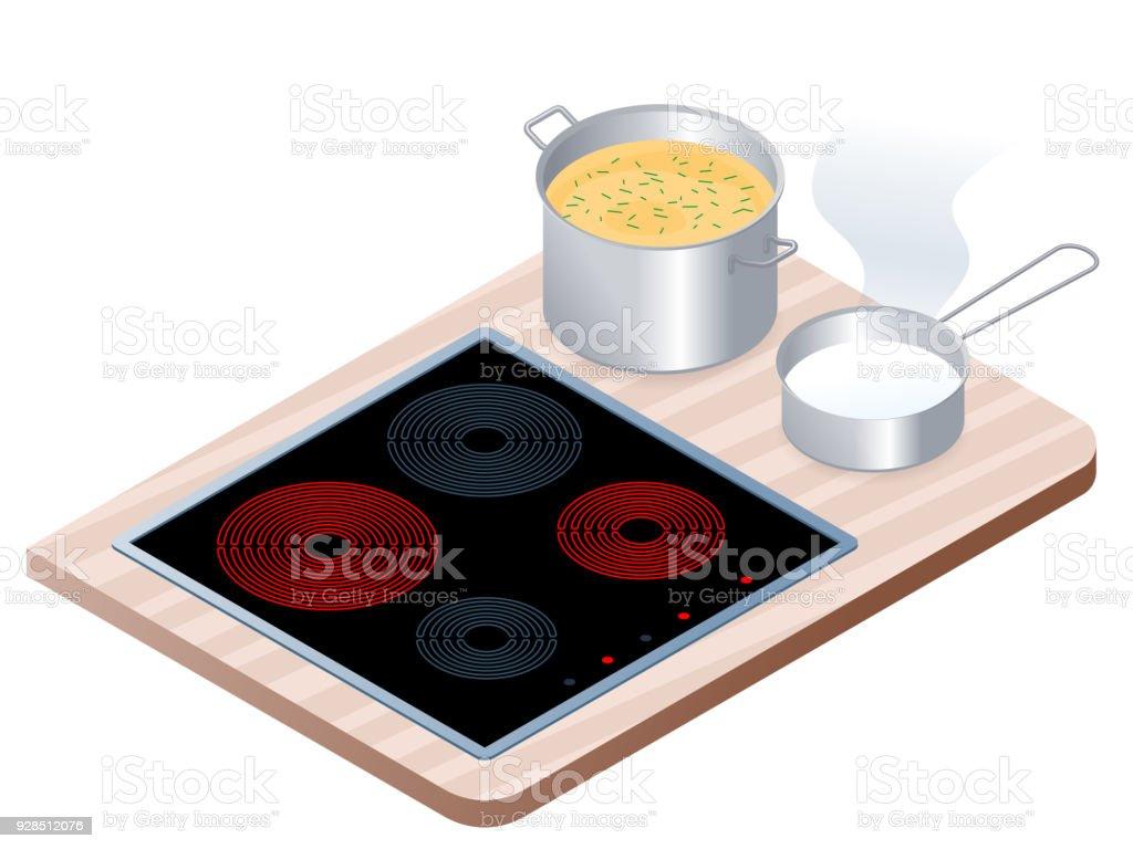 Plat Isometrique Illustration De Cuisiniere Electrique Cuisine