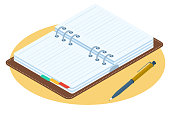 Flat isometric illustration of opened personal planner. Business vector concept.