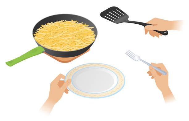 bildbanksillustrationer, clip art samt tecknat material och ikoner med platt isometrisk illustration av pannan med franska stekt potatis. - frying pan