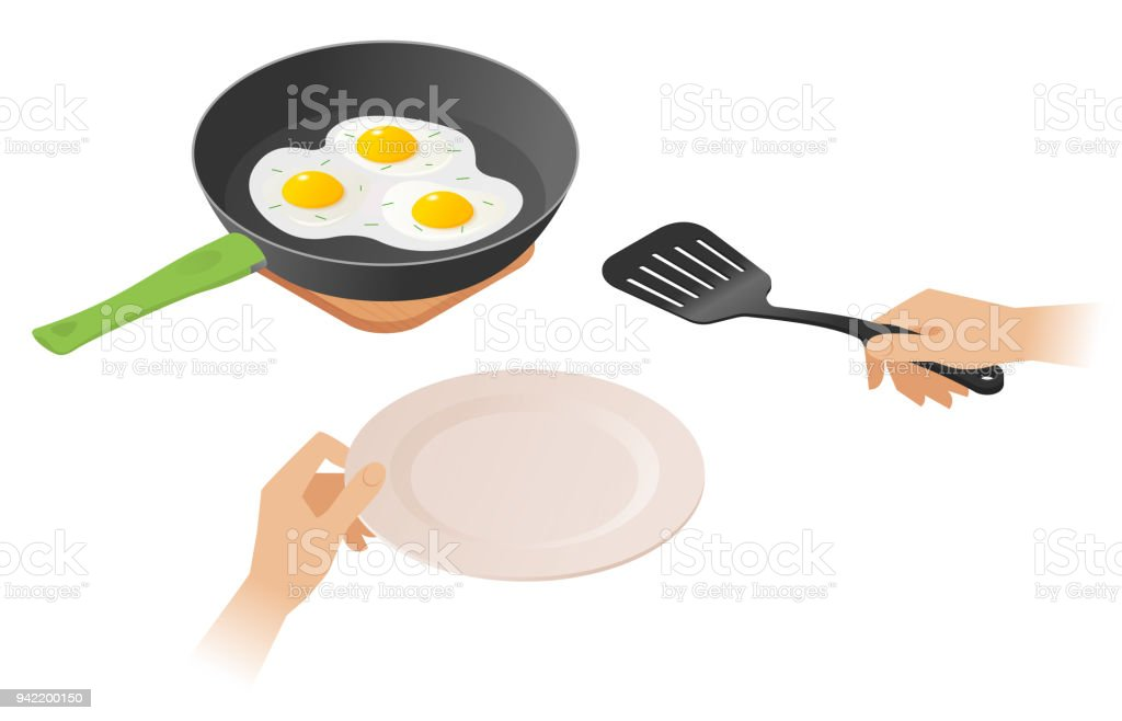 Flat isometric illustration of pan with scrambled eggs, hand, spatula. vector art illustration