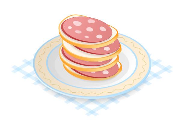 illustrazioni stock, clip art, cartoni animati e icone di tendenza di flat isometric illustration of pile of sausage sandwiches. - mortadella
