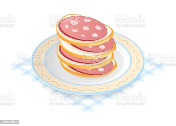 Flat Isometric Illustration Of Pile Of Sausage Sandwiches - Immagini vettoriali stock e altre immagini di Alimentazione sana