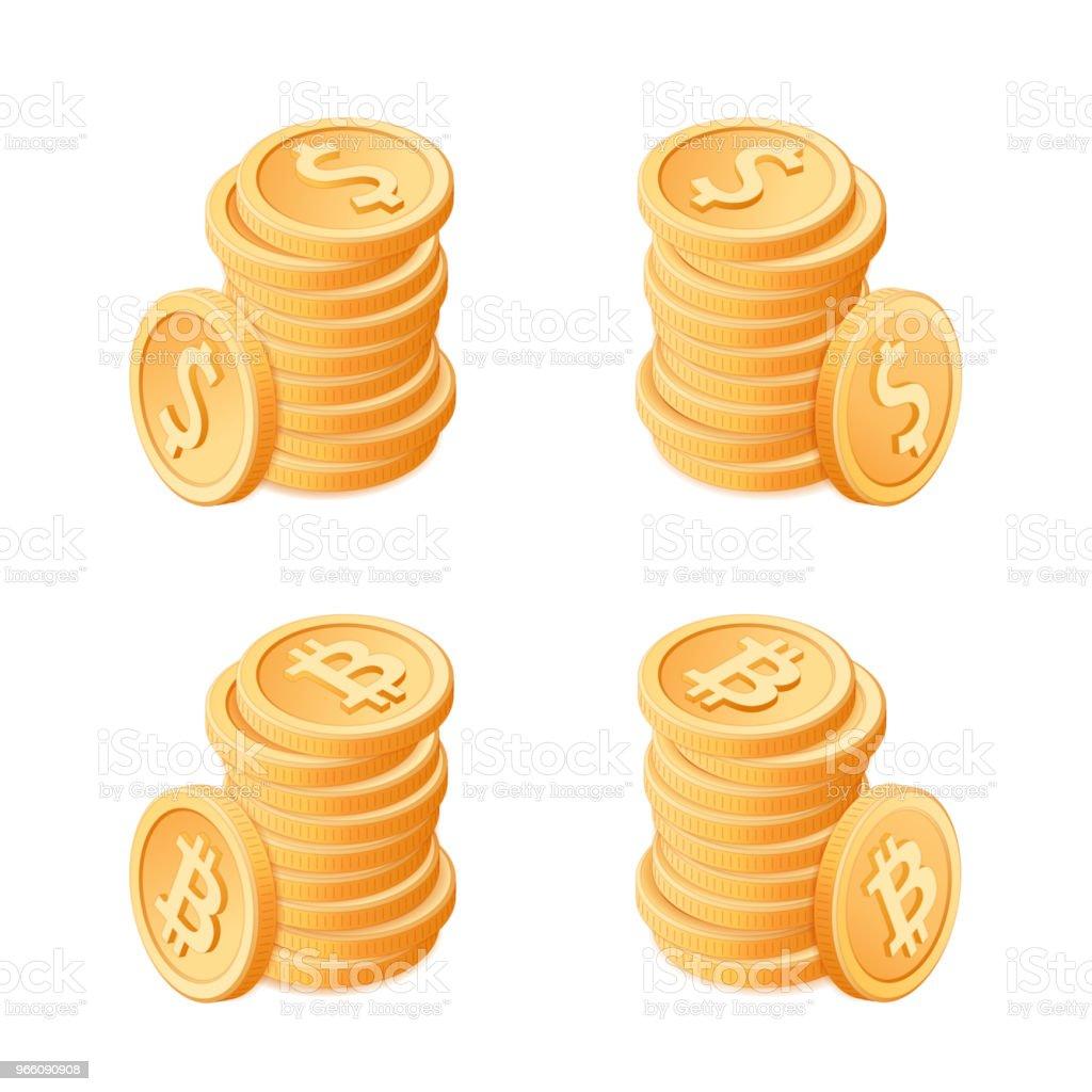 Flat isometrisk illustration av högar av mynt: dollar och bitcoins. - Royaltyfri Avgift vektorgrafik