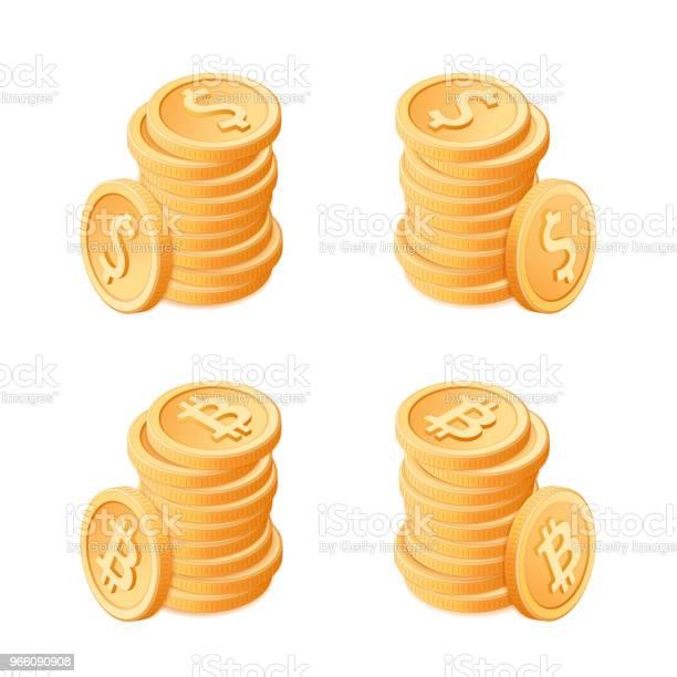 Flat Isometrisk Illustration Av Högar Av Mynt Dollar Och Bitcoins-vektorgrafik och fler bilder på Avgift