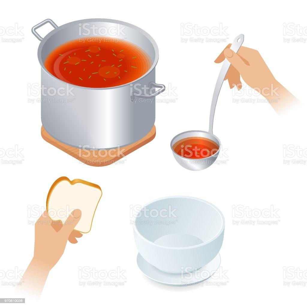Flat isometric illustration of saucepan with tomato soup, bowl, ladle.