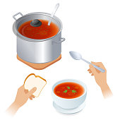 Flat isometric illustration of saucepan with tomato soup, bowl, spoon.