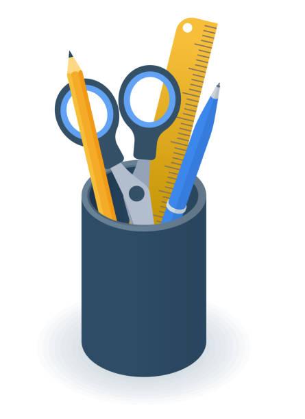 Flat isometric illustration of supplies holder cup. Pens, pencils holder. vector art illustration