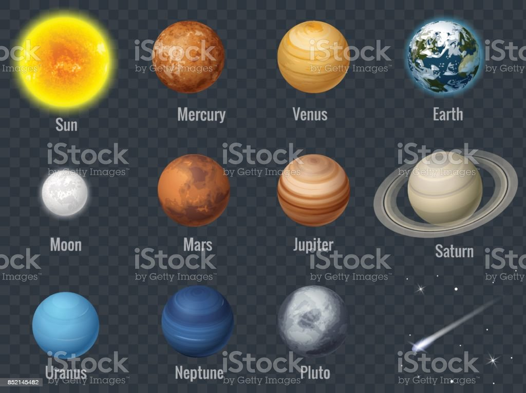 Flat isometric isolated set of planets in the solar system on transparent background infographics template vector illustration