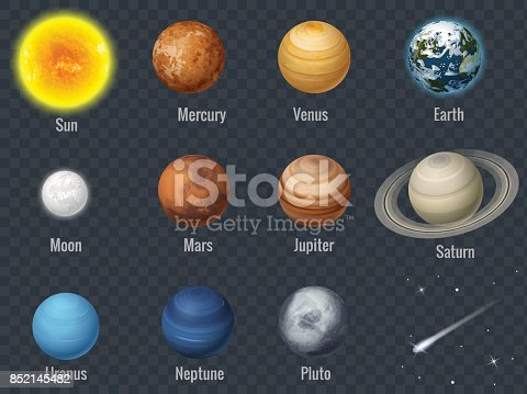 istock Flat isometric isolated set of planets in the solar system on transparent background infographics template vector illustration 852145482