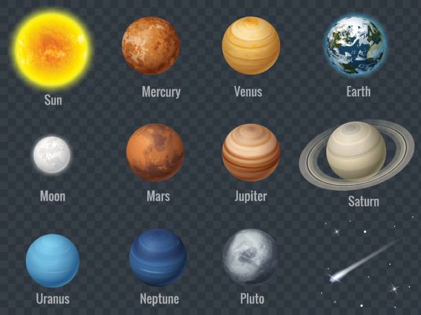 illustrations, cliparts, dessins animés et icônes de plat isométrique ensemble isolé des planètes du système solaire sur l'illustration vectorielle de fond transparent infographie modèle - mars