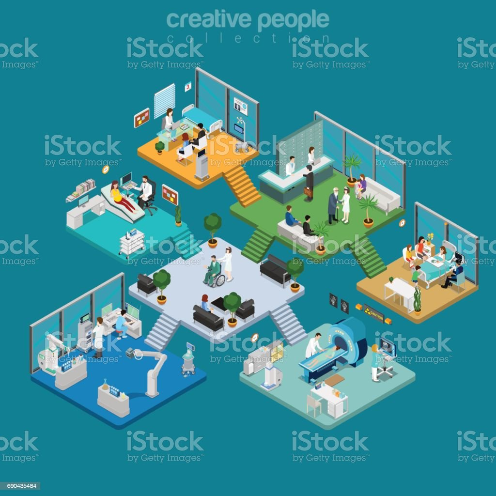 Flat isometric Medical centre interior vector illustration. Healthcare infographics template. 3d isometry Health care concept. Equipment, doctors, nurses, patients characters. vector art illustration