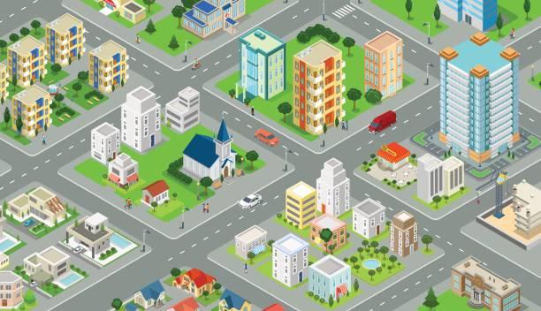 フラット等尺性メガロポリス ブロック道路とインフォ グラフィックと交差点ベクトル図です。3 d アイソ メトリック図法の近代的な都市の建物と建築コレクション。 - アイソメトリック点のイラスト素材/クリップアート素材/マンガ素材/アイコン素材
