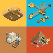 Flat isometric metallurgical plant, gold coal and open development, minerals extraction and delivery transport vector illustration set. 3d isometry Mining, Raw materials industry concept.