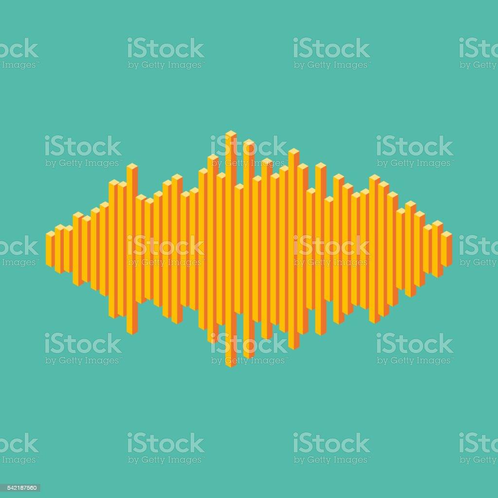 Flat isometric music wave icon made of peak lines vector art illustration