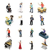 Flat isometric Musicians and showmen vector icon set. 3d isometry Entertainment concept. Group of people playing instrument, scene concert. DJ, drummer, entertainer, emcee, saxophonist characters.