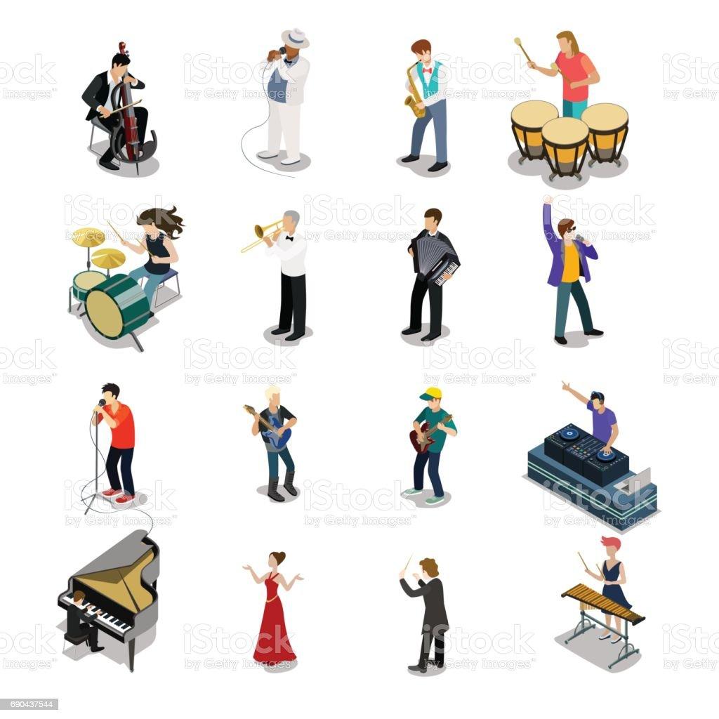 Plat isométrique des musiciens et des forains vecteur jeu d'icônes. concept de divertissement 3D isométrie. Groupe de gens qui jouent des instruments, concert de la scène. DJ, artiste, maître de cérémonie, caractères saxophoniste, batteur. - Illustration vectorielle