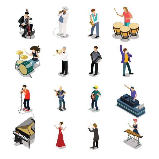 Flat isometric Musicians and showmen vector icon set. 3d isometry Entertainment concept. Group of people playing instrument, scene concert. DJ, drummer, entertainer, emcee, saxophonist characters. vector art illustration