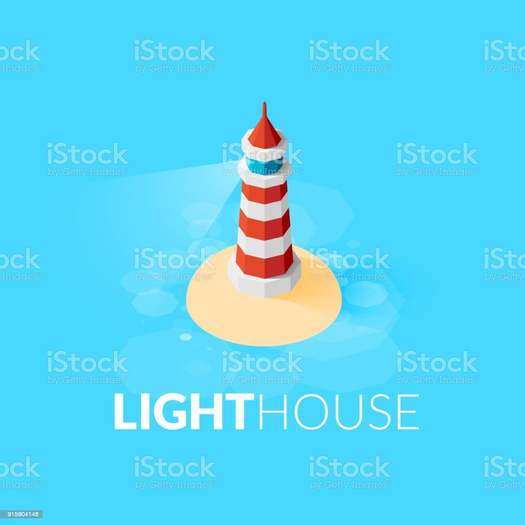 Flat isometric red lighthouse icon on blue sea vector art illustration
