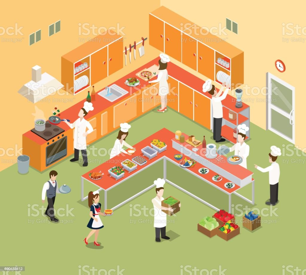 Flat isometric restaurant kitchen interior with chief, cook and cooking equipment vector illustration. 3d isometry food and meal concept. vector art illustration